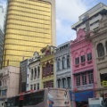Wisma Hamzah Kwong Hing's facade stands out amongst the historical buildings